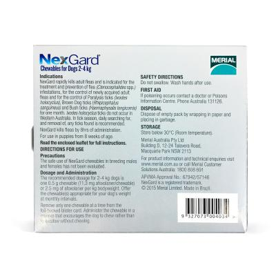 NexGard For Dogs Orange Very Small 2.0-4kg 3 Pack