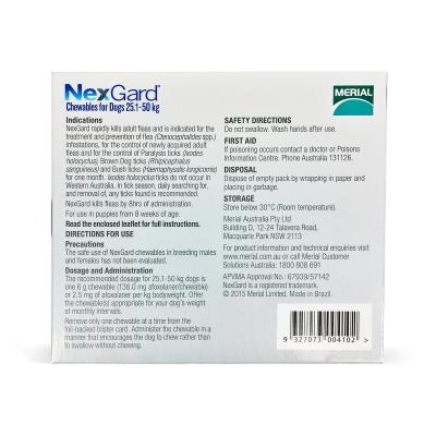 NexGard For Dogs Red Large 25.1-50kg 6 Pack