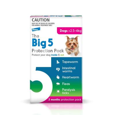 The Big 5 Protection Pack For Dogs Pink 2.5kg-4kg 3 Pack (Interceptor + Credelio)