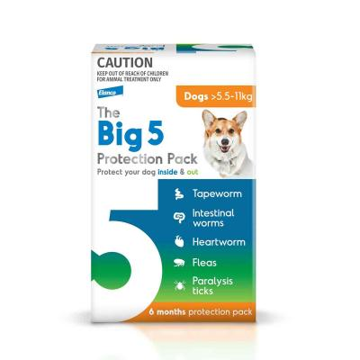 The Big 5 Protection Pack For Dogs Orange 5.5kg-11kg 6 Pack (Interceptor + Credelio)