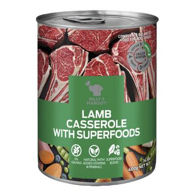 Billy + Margot Lamb Casserole With Superfoods Adult Wet Canned Dog Food 12 x 400g