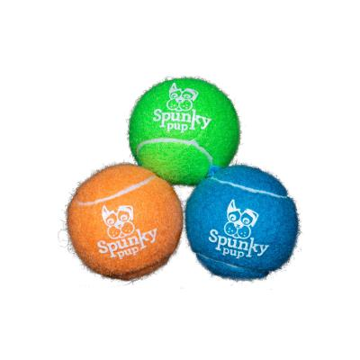 Spunky Pup Non Abrasive Tennis Ball with Glow Logo 3 Pack Toy For Dogs