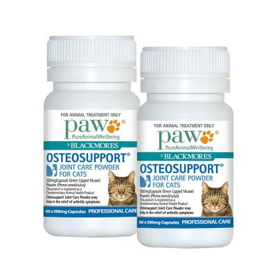 Paw By Blackmores Osteosupport Joint Care Powder For Cats 60 X 500mg Capsules x 2