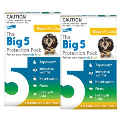 The Big 5 Protection Pack For Dogs Yellow 4kg-5.5kg 6 Pack (Interceptor + Credelio)