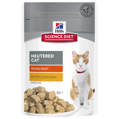 Hills Science Diet Neutered Young Adult Chicken Pouches Wet Cat Food 85gm x 48