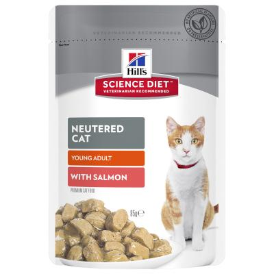 Hills Science Diet Neutered Young Adult Salmon Pouches Wet Cat Food 85gm x 36