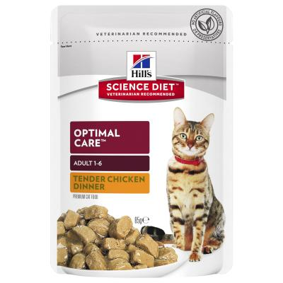Hills Science Diet Optimal Care Chicken Adult 1-6 Years Pouches Wet Cat Food 85gm x 48
