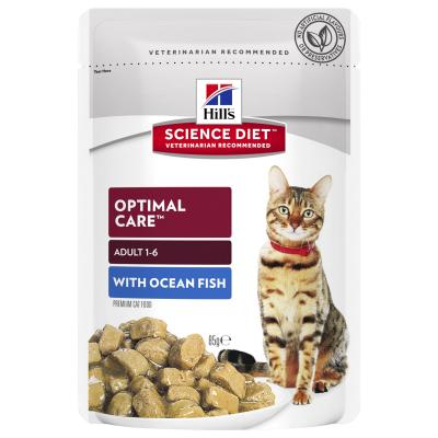 Hills Science Diet Optimal Care Ocean Fish Adult 1-6 Years Pouches Wet Cat Food 85gm x 48
