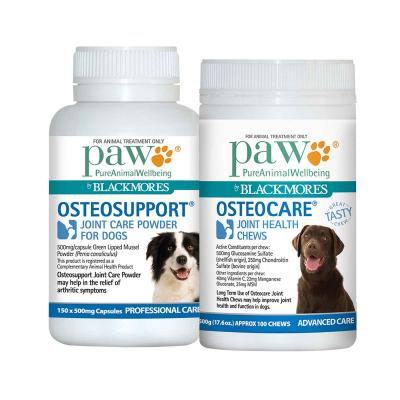 Paw By Blackmores Osteosupport Joint Care Powder 150 X 500mg Capsules & Osteocare Joint Health Chews 500gm For Dogs