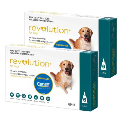Revolution For Dogs 20.1-40kg Teal 12 Pack With Canex Tablets