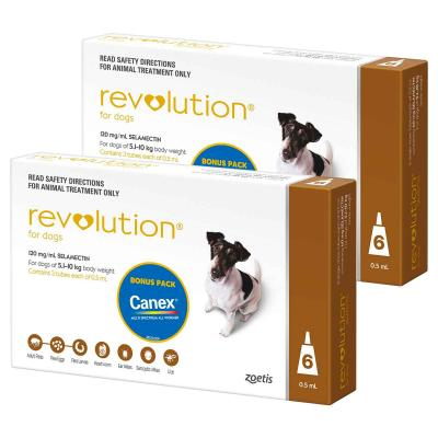 Revolution For Dogs 5.1-10kg Brown 12 Pack With Canex Tablets