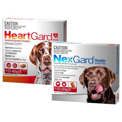 NexGard & HeartGard Large Dog Bundle 6 Pack (NexGard 25.1-50kg & HeartGard Plus 23-45kg)