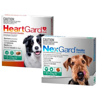 NexGard & HeartGard Medium Dog Bundle 6 Pack (NexGard 10.1-25kg & HeartGard Plus 12-22kg)