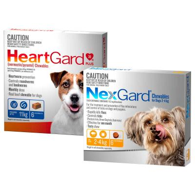 NexGard & HeartGard Very Small Dog Bundle 6 Pack (NexGard 2.0-4kg & HeartGard Plus Up To 4kg)