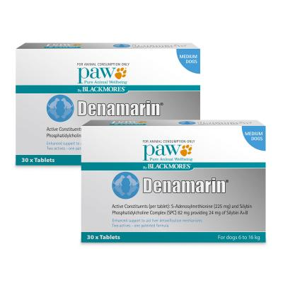 PAW By Blackmores Denamarin 225mg For Medium Dogs 6-16kg 60 Tablets (2 x 30 Tablets)