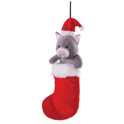Kazoo Christmas Cat In Stocking Large Toy For Cats And Dogs