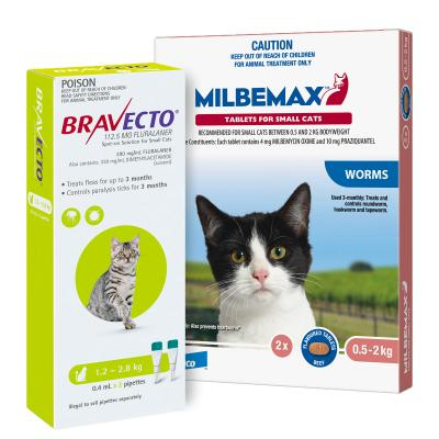 Bravecto Spot On & Milbemax Allwormer Bundle For Cats 1.2-2kg 2 Pack