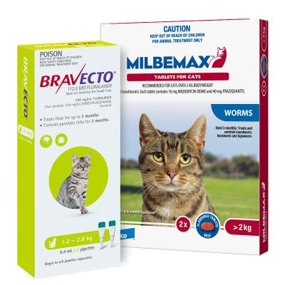 Bravecto Spot On & Milbemax Allwormer Bundle For Cats 2-2.8kg 2 Pack