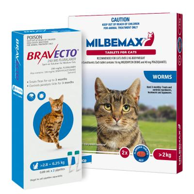 Bravecto Spot On & Milbemax Allwormer Bundle For Cats 2.8-6.25kg 2 Pack