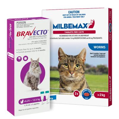 Bravecto Spot On & Milbemax Allwormer Bundle For Cats 6.25-8kg 2 Pack