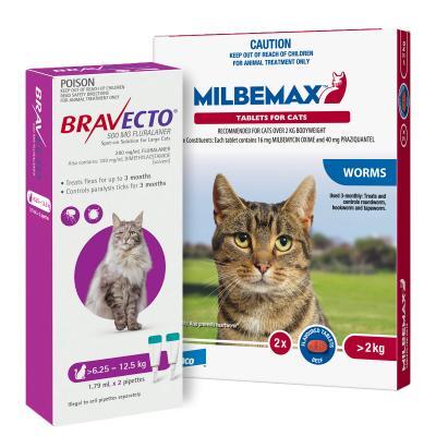 Bravecto Spot On & Milbemax Allwormer Bundle For Cats 6.25-8kg 2 Pack