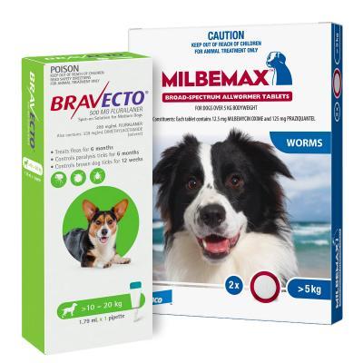 Bravecto Spot On & Milbemax Allwormer Bundle For Dogs 10-20kg