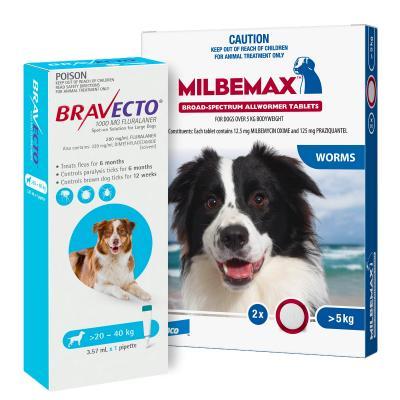 Bravecto Spot On & Milbemax Allwormer Bundle For Dogs 20-25kg