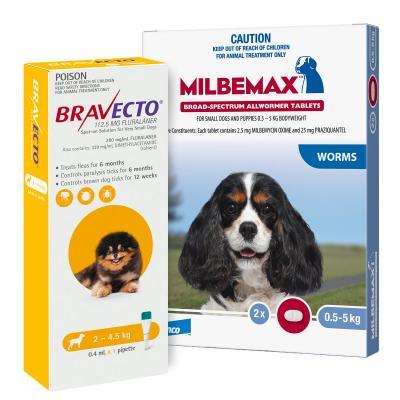 Bravecto Spot On & Milbemax Allwormer Bundle For Dogs 2.4-5kg