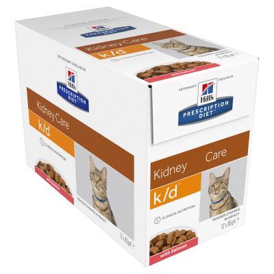 Hills Prescription Diet Feline k/d Kidney Care Salmon Pouches Wet Cat Food 85gm x 12 (11026AN)