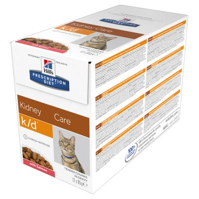 Hills Prescription Diet Feline k/d Kidney Care Salmon Pouches Wet Cat Food 85gm x 12 (11026AN)