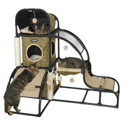 ZeeZ Feline Hideaway Scratching Post Fun House Toy For Cats
