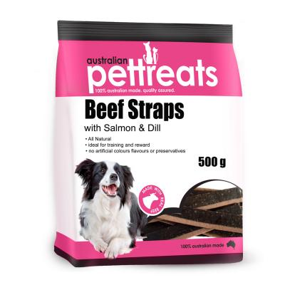 Australian Pettreats Straps Beef With Salmon And Dill Treats For Dogs 500gm