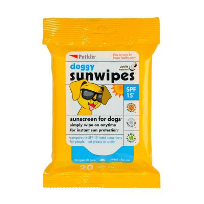 Petkin Doggy Sunscreen Jumbo Sunwipes SPF15 Vanilla Coconut Pack Of 20 For Dogs