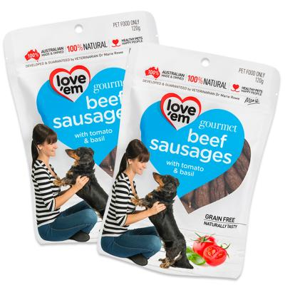 Love Em Gourmet Sausages Beef Tomato Basil Grain Free Treats For Dogs 120g x 2 Pack