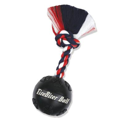 Mammoth TireBiter Ball With Rope Fetch Toy For Dogs