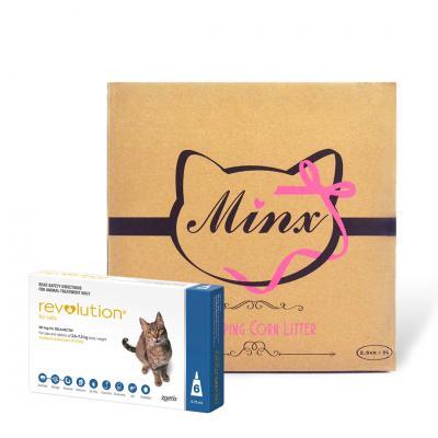 Revolution For Cats 6 Pack & BONUS Minx Clumping Corn Cat Litter 2.5kg
