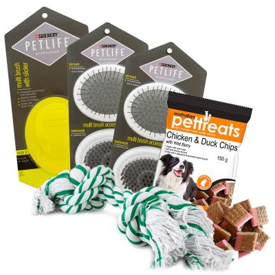 Premium Grooming Brush Toy And Treat Pack For Dogs