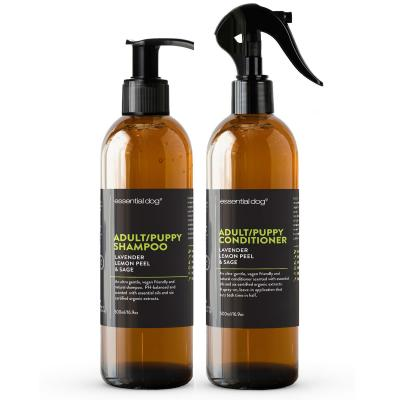 Essential Dog Shampoo And Conditioner Combo Pack Lavender Lemon Peel And Clary Sage For Dogs And Puppies 500ml