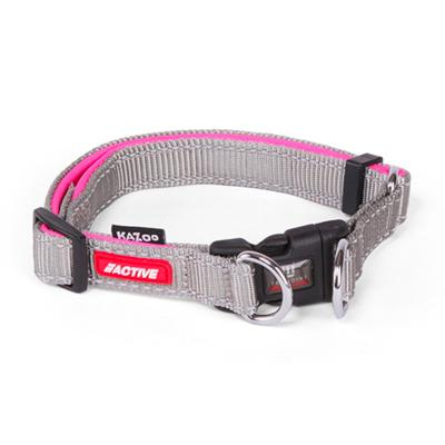 Kazoo Active Adjustable Nylon Collar Silver/Pink 37-55cm x 20mm Large For Dogs