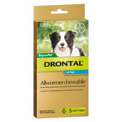 Drontal Allwormer For Dogs Medium 3-10kg 5 Chews