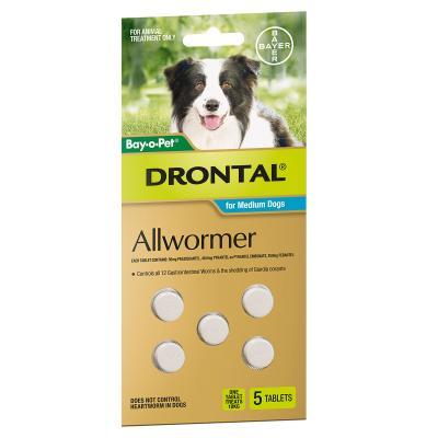 Drontal Allwormer For Dogs Medium 3-10kg 5 Tablets