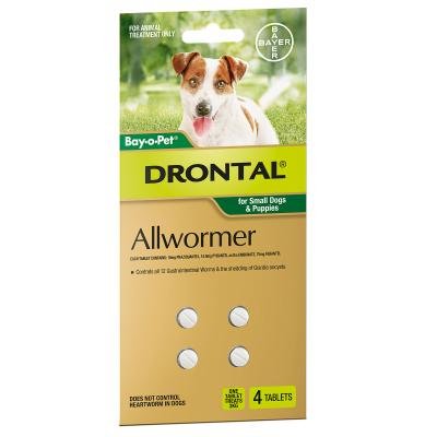 Drontal Allwormer For Dogs Small & Puppies Up To 3kg 4 Tablets