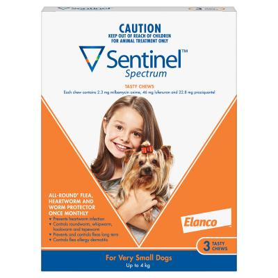 Sentinel Spectrum For Dogs Up To 4kg Brown 3 Pack