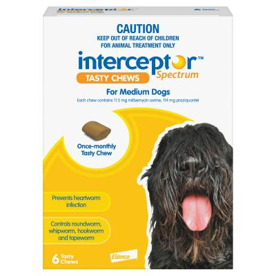 Interceptor Spectrum For Dogs 11-22kg Yellow 6 chews