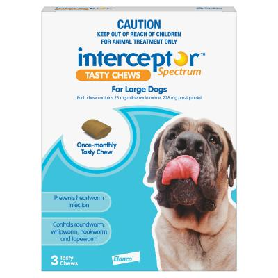 Interceptor 3 chews Large Dogs Blue 22-45kg Spectrum