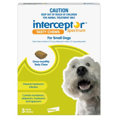 Interceptor 3 chews Small Dogs Green 4-11kg Spectrum