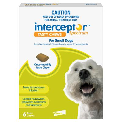 Interceptor Spectrum For Dogs 4-11kg Green 6 chews