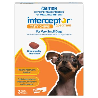 Interceptor Spectrum For Dogs Up To 4kg Brown 3 chews