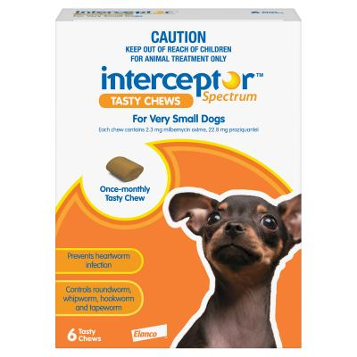 Interceptor Spectrum For Dogs Up To 4kg Brown 6 chews
