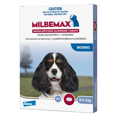 Milbemax Allwormer For Small Dogs 0.5 - 5kg 2 Tablets